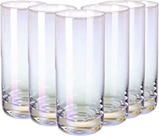 RORA Colorful Highball Drinking Glasses Heavy Base Tall Bar Glass Set of 6, for Water, Juice, Beer, Wine, Whiskey, and Coc...