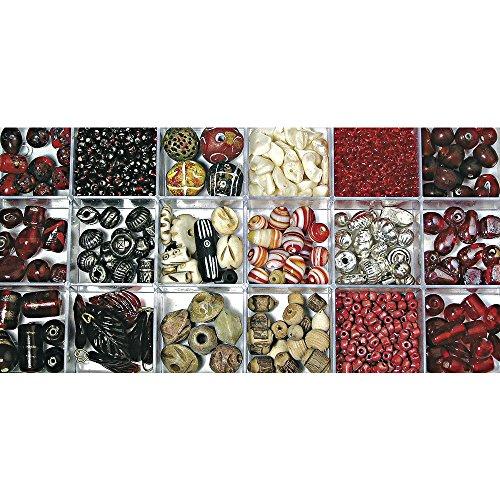 Rayher 14115815 boîte de perles de verre de couleurs et tailles Mix boîte 240 g rubis