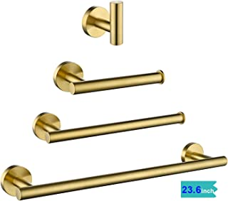 gotonovo Bathroom Hardware Set Bath Accessory Kit 4 Piece Brushed Gold Metallic Bathroom Accessories Wall Mount 24 Inch Towel Bar Toilet Paper Holder Robe Clothes Hook Stainless Steel
