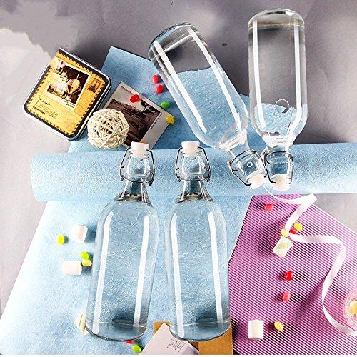 Classic Style Clear Glas mit Stopfen Flasche, Glas Wein Flasche Rotwein Flasche mit Deckel, 1100 m Transparent, 4 Stück