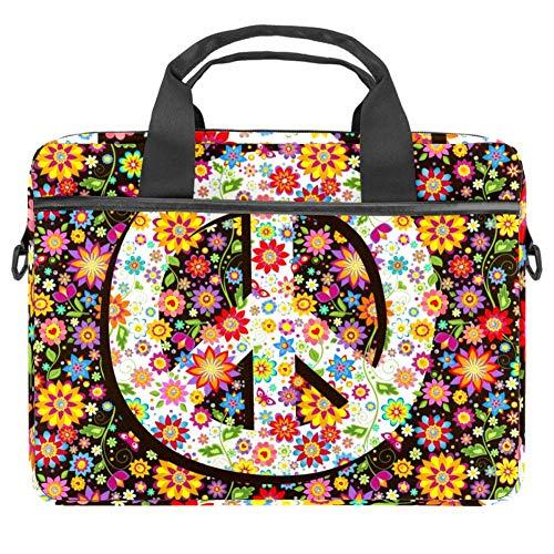 TIZORAX Laptop-Tasche Hippie Blumen Peace Symbol Notebook Sleeve mit Griff 38,1 - 39,1 cm Tragetasche Schultertasche Aktentasche