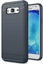 J7 Cases,Galaxy J7 Case 2015,J700M Case,(Not Fit J710 2016) ARSUE Anti-fingerprint Slim Thin Carbon Fiber TPU Soft Skin Silicone Bumper Protective Phone Case Cover for Samsung Galaxy J7 2015,Navy Blue