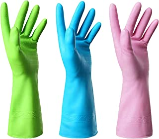 Mulfei Household Cleaning Gloves-3 Pairs Kitchen Gloves Dishwashing Rubber Gloves Reusable,Latex Free and Fit Your Hands Well-Including Green Pink and Blue (Large)