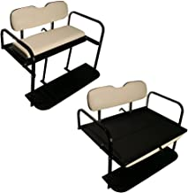 Performance Plus Carts EZGO TXT Golf Cart Rear Flip Folding Back Seat Kit, 1995 and Up - All Factory Colors (White Cushions)