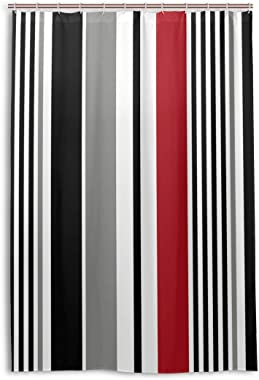 Black Stripe Red White Grey Vertical Shower Curtain Waterproof Resistant Fabric Kids Bathroom Curtain 48x72in