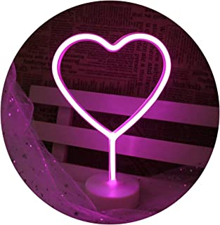 Pooqla Love Heart Neon Signs, LED Neon Light Sign with Holder Base for Home Party Birthday Bedroom Bedside Table Decoration Valentine Gifts (Love Heart Pink with Holder)