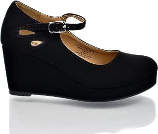 SODA Girl's Closed Toe Mary Jane Platform Wedge Sandal