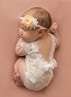 Mummyhug neonato bambino sveglio ragazza fotografia Prop maglia tuta intera con Bowknot (Bianco)