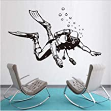 Scuba Diver Wall Stickers Vintage Style Home Decor Extreme Sports Sticker Removable Wall Decals Vinyl