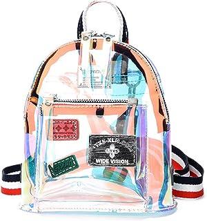 VEMLY - Mochila para mujer, transparente, holograma, bolsa de gelatina