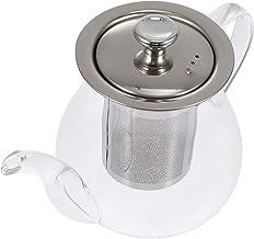 BESTonZON Szklany dzbanek do herbaty z sitkiem ze stali nierdzewnej, bezpieczny szklany dzbanek na herbatę na luźne liście...