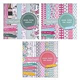 3 blocchi da 20 fogli stampati su entrambi i lati: carta di design, design carta, cartoncino, 60 fogli, 24 design