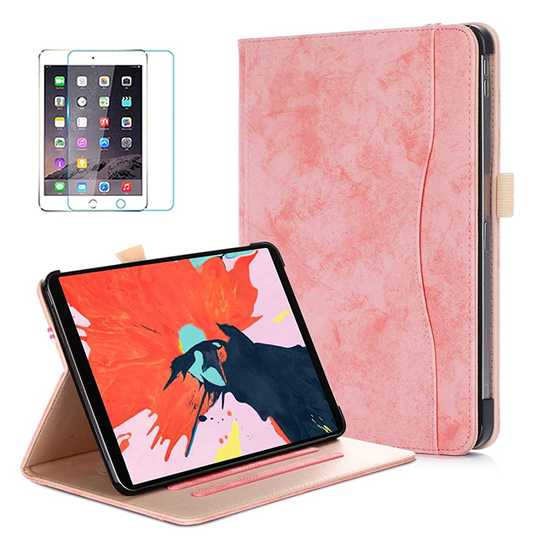 Soweiek iPad Pro 11 inch 2018 Case, Premium Leather Protective Stand Smart Cover Auto Wake/Sleep with Pencil Holder and Screen Protector, Pink