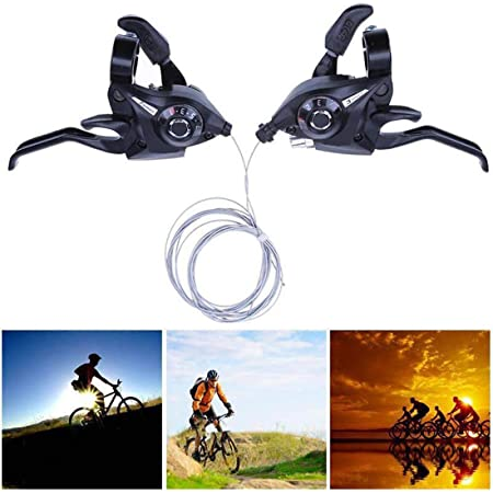 2 Set MTB Thumb Shifter Lever Solid Top Mount Shift Bicycle Derailleur Cable