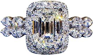 Wogo Temperament Square Diamond Ring Silver Ring, Cubic Zirconia CZ Diamond Eternal Engagement Wedding Ring