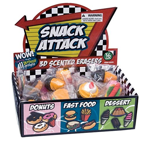 Raymond Geddes Snack Attack 3D Scented Eraser Display, 36 Pack (68373)
