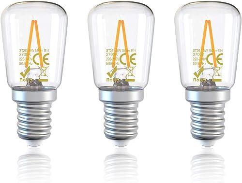 DGE 1.5W Ampoules Réfrigérateur LED, Équivalent 15W Incandescent, Blanc Chaud 2700K, 150Lm,Petit LED Filament Ampoule...