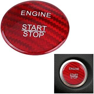 Nrpfell Juego de Cubierta de Botón de Parada de Arranque de Coche de Fibra de Carbono para para Mercedes A B C Glc Gla Cla Ml GL Clase W176 W246 W205 X253 X156 C117 (Rojo)