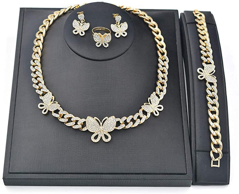 Giffor Hiphop Jewelry Sets for Women Necklaces 14K Gold Plated Cuban Chain Bracelets Earrings Braclet Friendship Gifts