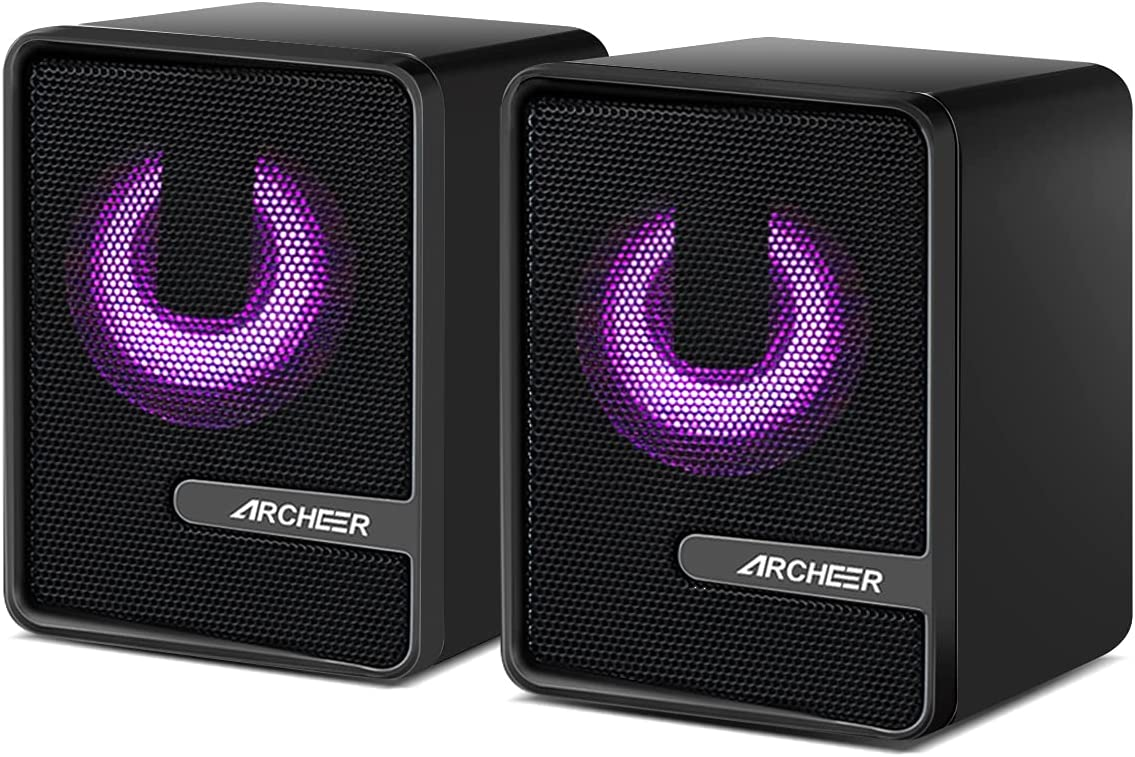 Computer Speakers RGB Gaming Speakers, Wired PC Stereo Speakers with Volume Control, ARCHEER 3.5mm Headphone Jack Mini Speakers for Desktop PS4 Tablets Laptop Monitor Phone Xbox Plug and Play