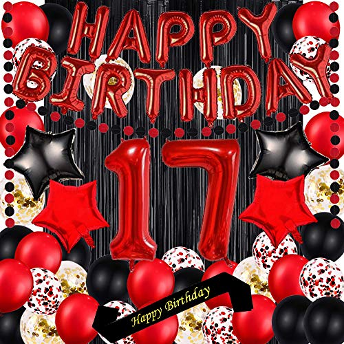 Red 17TH Birthday Party Decorations Supplies Red theme 16inch Red Foil Happy Birthday Balloons Banner Happy Birthday sash Foil Black Curtains Foil Balloons Number Red 17 Risehy