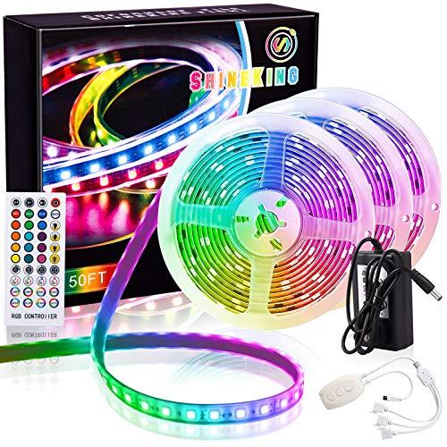 ShineKing of 49.2ft Dimmable LED Strip Lights,RGB Intelligent Control LED Lights,TV LED Backlight,Atmosphere Upgrade Car Lights LED Strip Light.(16.4ftx3))