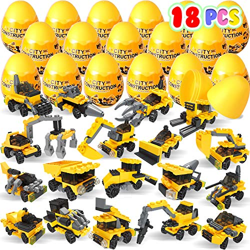 Purchase Kiddokids 18 Pcs Filled Easter Eggs with Construction Vehicles Building Blocks Toys, 3.15â€...