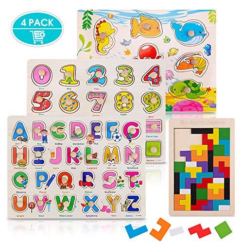 4 Pack Toddler Puzzles, Ezire Wooden Peg Puzzles for Kids - Numbers Puzzle, Alphabet Puzzle, Sea Creatures Puzzle, Tetris Puzzles Toy Perfect Pegged Puzzle for Baby Learning
