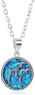 KELITCH New Opal Cross Chian Necklace Opal Pray Lucky 925 Silver Necklace