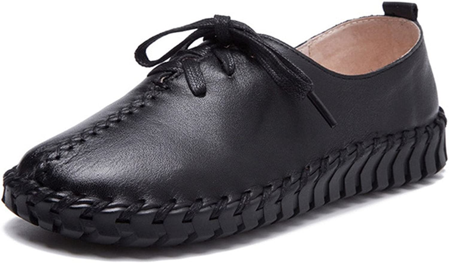 York Zhu Women's Fashion Sneakers, Slip On Lace up Round Toee Moccasin shoes