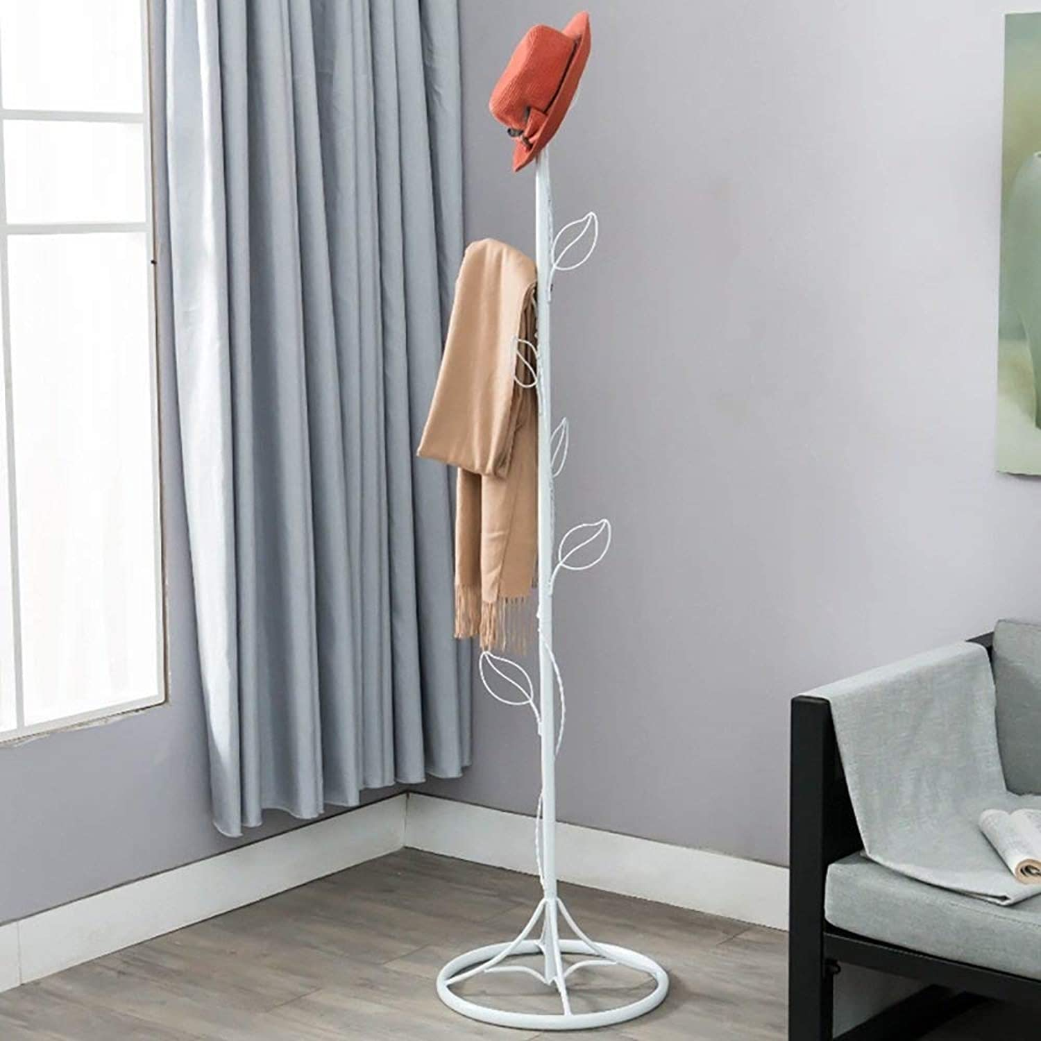 Coat Rack European Simple Creative Floorstanding Leaves Hangers Iron Clothes Rack Wall Hanger White Bedroom Haiming (color   White, Size   160cm)