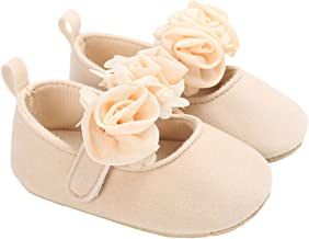 LINKEY Baby Girls Suede Rose Mary Jane Princess Dress Shoes Crib Shoes for Photos