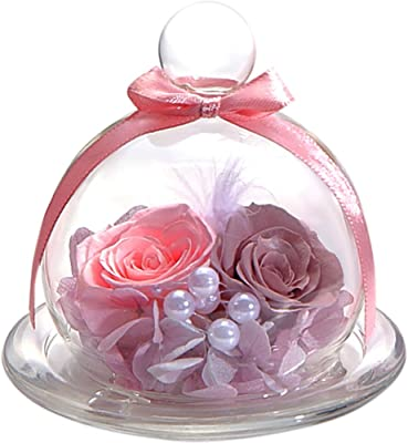 ティートサイト プリザーブドフラワー フラワーアレンジ ラッピング済み ガラスポット入り 2輪 (バラ アンティークピンク)