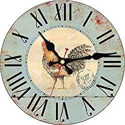 ShuaXin Primitive Country Rooster Style Clock for Wall Decoration,Indoor 16 Inches Antique Room Decorative Wall Clock,Shabby Chic Rustic Creative Blue Wall Clock