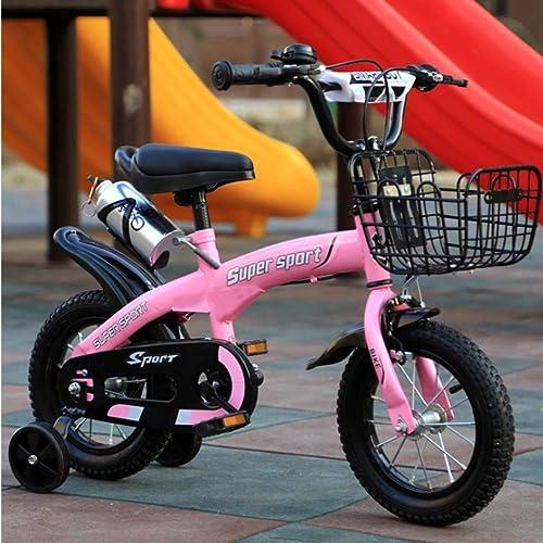 JINPENGrün Kinderfahrrad-Verstellbarer Sitz für Kinder zwischen 2 und 12 Jahren inklusive Schutzausrüstung,Rosa,4