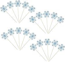 Holibanna 20pcs Cupcake Toppers Torta Taccoglie Decorazioni di Carta a Forma di Fiocco di Neve con Forniture per Feste di Corna per Fidanzamento di Nozze
