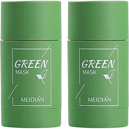 (2 bottles) Purifying Clay Stick Green Tea Mask, Exfoliating Mask, Removes Blackheads And Deep Cleansing Oil Control And Anti-Acne Solid And Fine, Suitable for All Skin Types