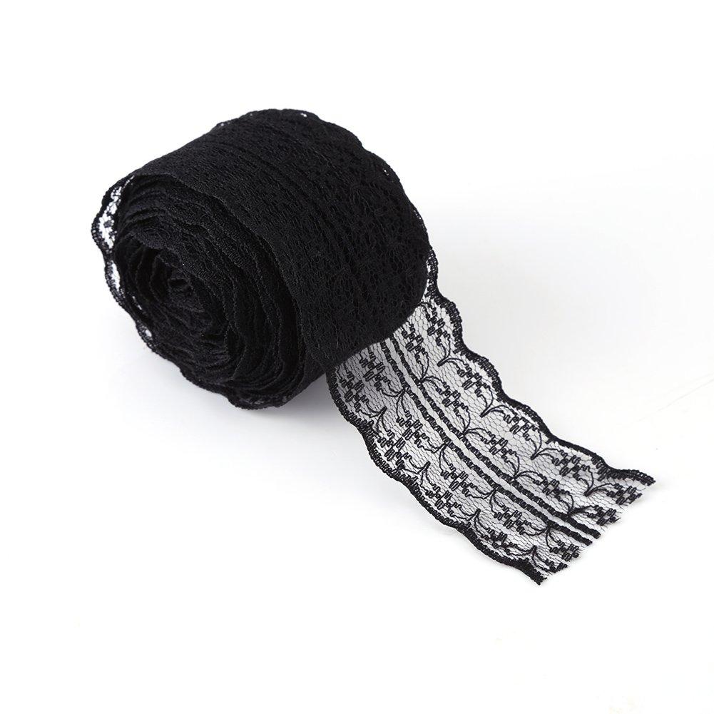 Akozon 10 m//Roll 4.5CM Width Lace Ribbon DIY Decorative Lacework for Wedding Birthday Christmas Black