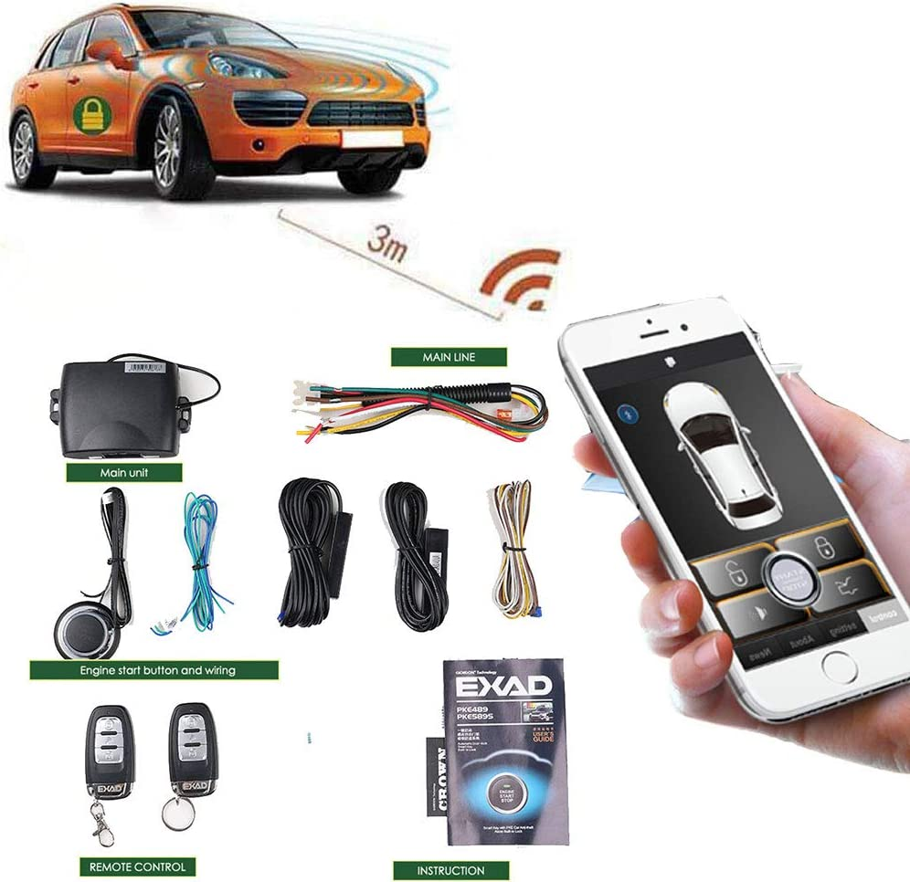 Car Alarm Systems Remote Engine Start Smart Key Push Button Keyless Entry Central Locking/unlock Universal Version 80-100M Smartphone pke with 2 Remote Control and Shock Sensor