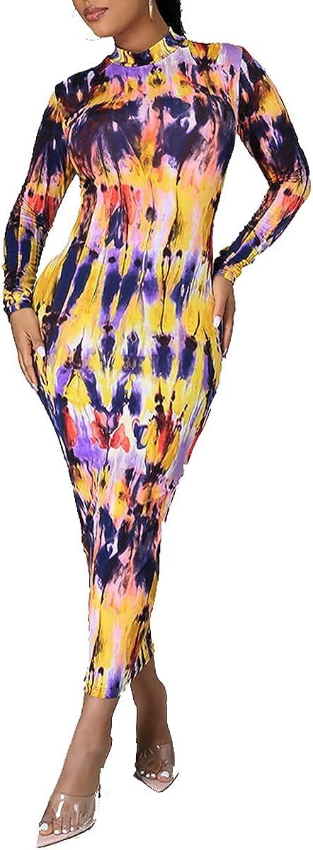 WanMem African Dresses for Women Caaual Floral Prints Long Sleeve Slim Fit Bodycon Elegant Club Dress