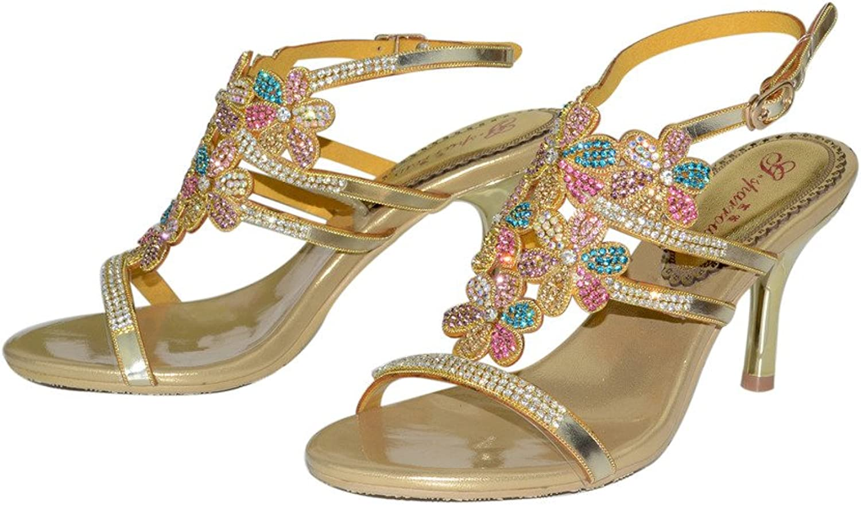 Monie Women's Glitter Flower Patterned Bridal Bridesmaids Dress Sandals Handmade Stiletto Strappy shoes