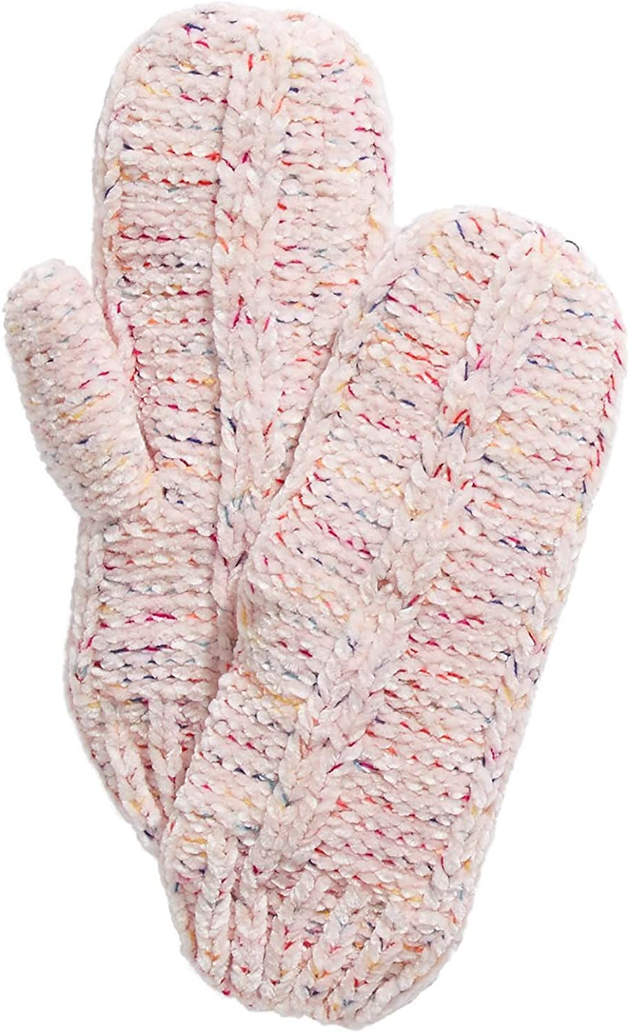 Save On Products Womens INC Space Dye Chenille Mittens Ivory Mixed Color