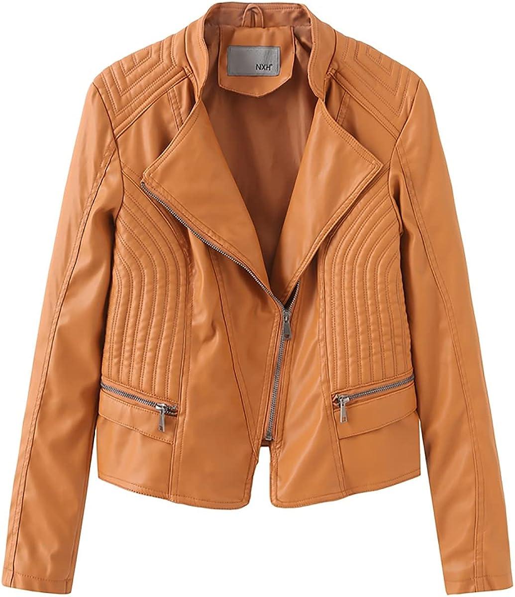 Women's Faux Leather Jacket PU Slim Zip Up Moto Biker Coat Motorcycle Outwear