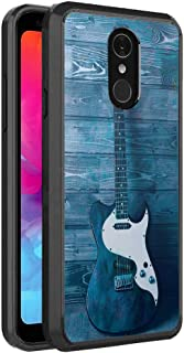Moriko Compatible with LG Q7+ [Fusion Gel Slim Thin Hybrid Soft Grip Drop Protection Dust Proof Shockproof Full Body Black Case Protector Cover] for LG Q7 + Plus LG Q7 (Guitar)