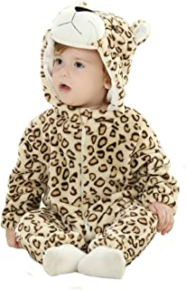 Doladola Unisex Baby Hooded Romper Tier Flanell Onesies Baby Strampler Overall
