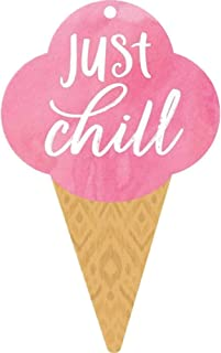P. Graham Dunn Just Chill Ice Cream Cone Nautical Pink 3 x 2 Wood Hanging Gift Wrap Tag Charms Set of 5