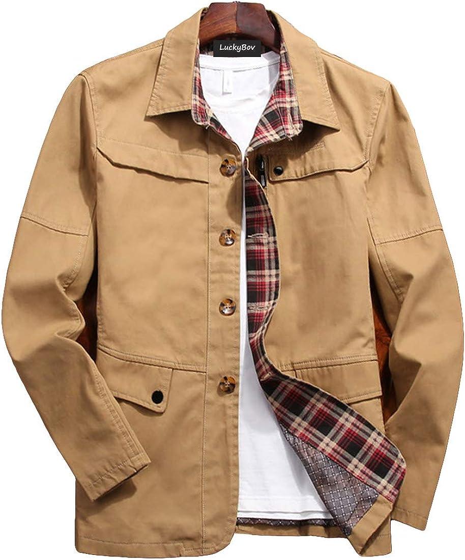 Sacramento Mall LuckyBov Men Single Breasted Western Blazer Cotton Branded goods Lightw Spring