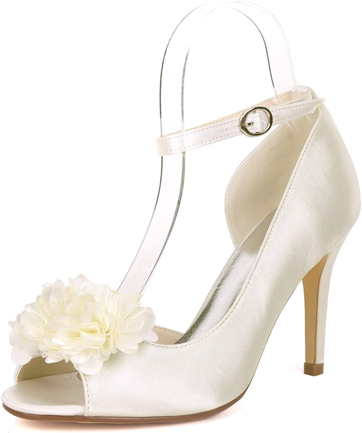 Myloo Women's Peep Toe High Heel Pumps Floral Evening Prom Bridal Wedding shoes