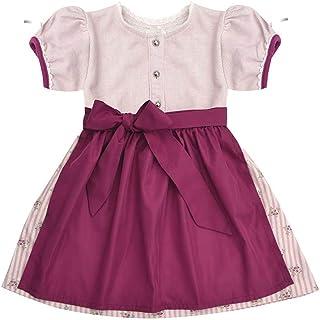 MoGo Baby - Mädchen Baby-Dirndl rosa mit Schürze weinrot, ROSA,