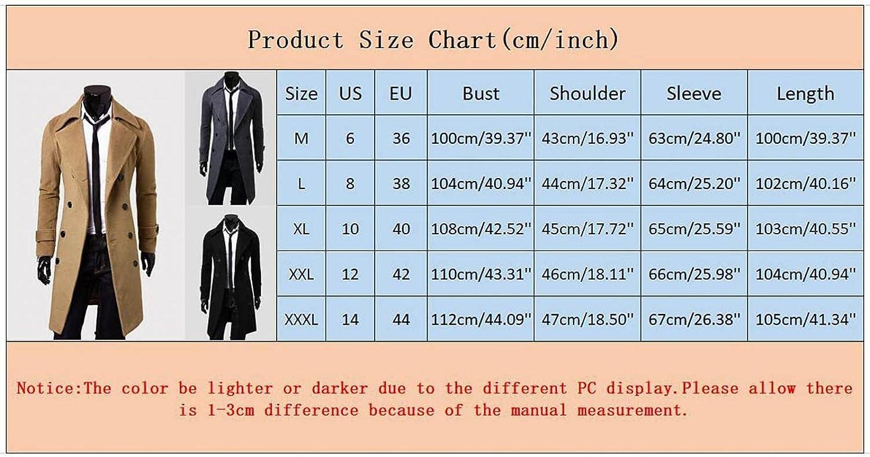 FUNEY Men's Notched Lapel Double Breasted Trenchcoat Stylish Slim Fit Mid Long Windbreaker Winter Overcoat Jacket